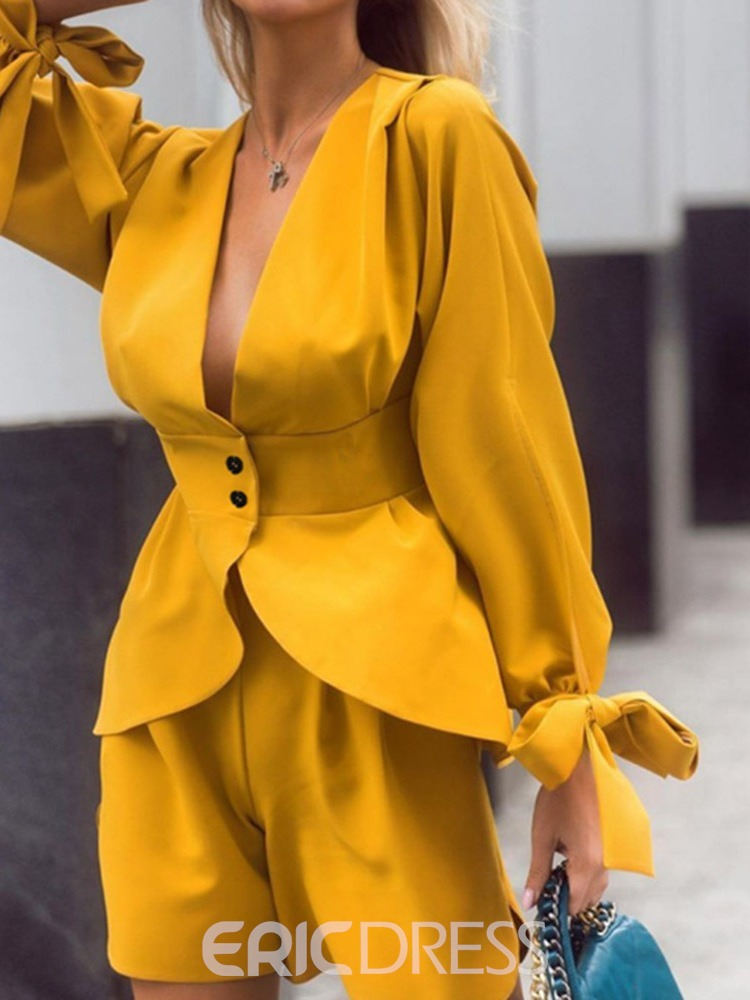 Ericdress Plain Coat Sexy Single-Breasted Two Piece Sets