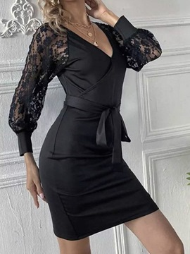 Ericdress Long Sleeve Lace V-Neck Plain Summer Women's Dress