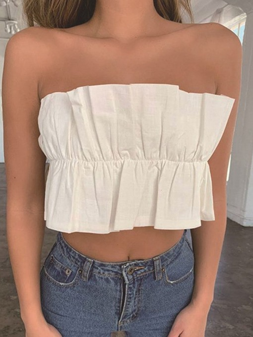 Ericdress Wrapped Chest Bra Pleated Summer Short Women's Tank Top