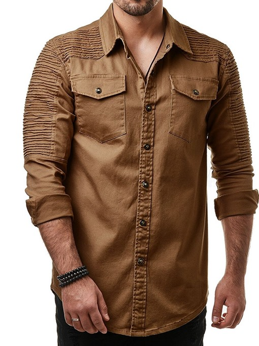 Ericdress Lapel Pleated European Spring Single-Breasted Men's Shirt