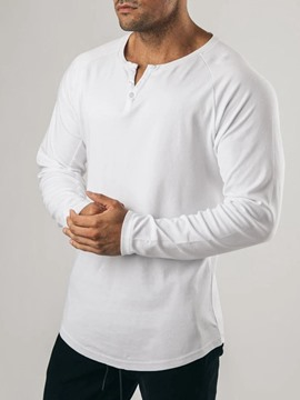 ericdress button casual playera delgada de manga larga para hombre