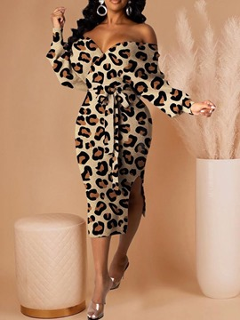 Ericdress Long Sleeve Split Mid-Calf Leopard Women's Bodycon Dress