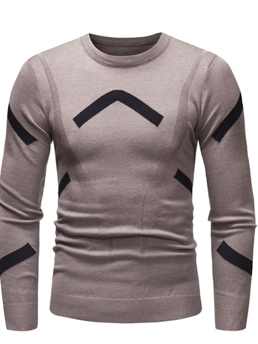 Ericdress Round Neck Standard Color Block Winter Men's Slim Sweater
