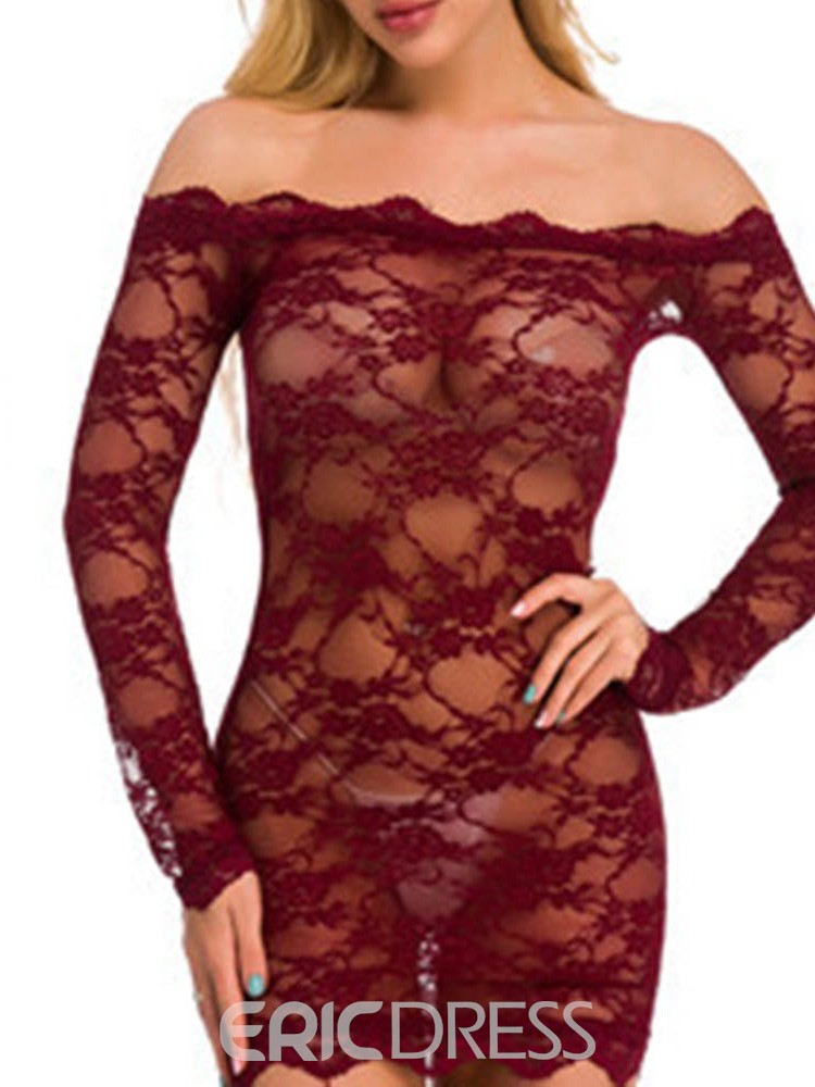 Ericdress Lace Floral Boat Neck Tight Wrap Long Sleeve Babydolls
