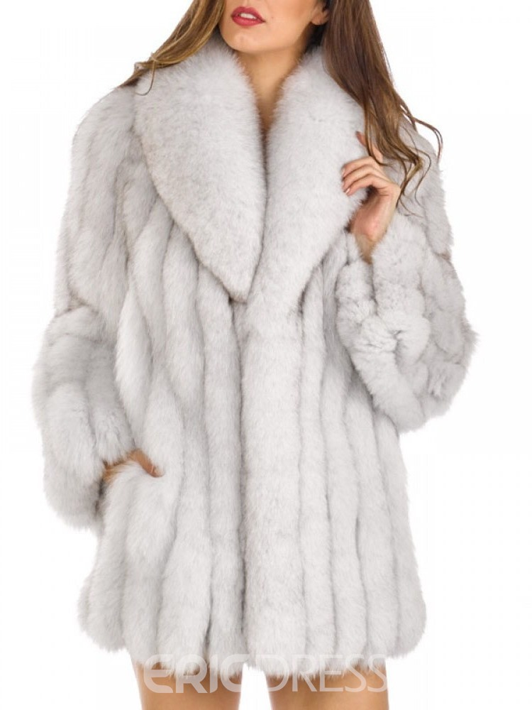 Ericdress Mid-Length Regular Lapel Loose Women's Faux Fur Overcoat