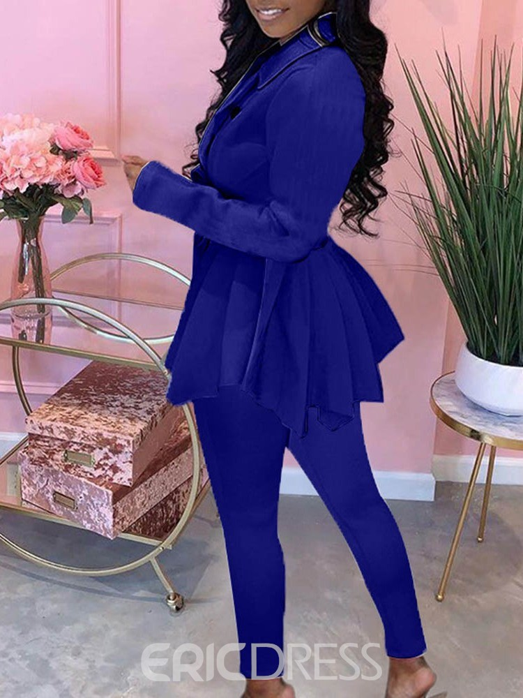 Ericdress Pleated Casual Women's Double-Breasted Notched Lapel Two Piece Sets