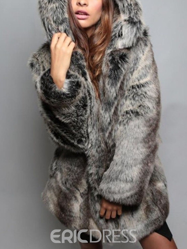 Ericdress Mid-Length Hooded Regular Loose Women's Faux Fur Overcoat