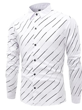 Ericdress Lapel Stripe Casual Single-Breasted Men's Slim Shirt