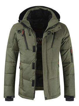Ericdress Patchwork Hooded Zipper Casual Men's Down Jacket
