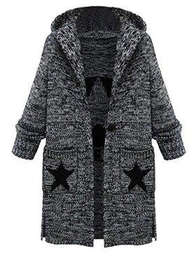 Ericdress Patchwork Thick Hooded Mid-Length Women's Sweater