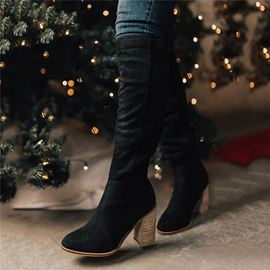 Ericdress Round Toe Chunky Heel Side Zipper Western Boots
