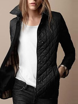 Ericdress Patchwork Single-Breasted Straight Standard Cotton Women's Padded Jacket