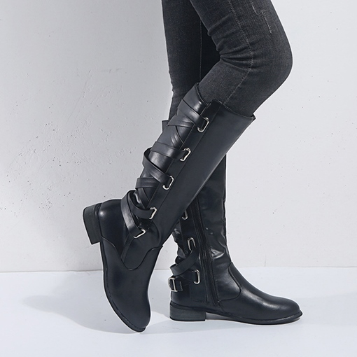 Ericdress Round Toe Plain Block Heel Thread Boots