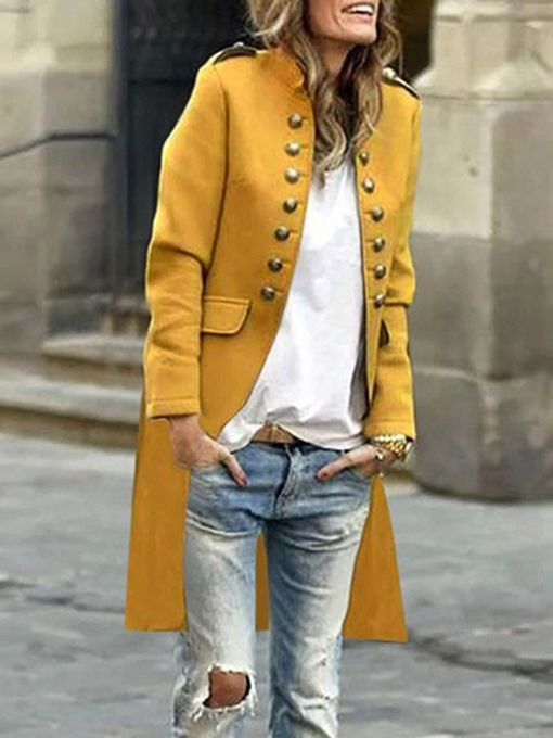 Ericdress Double-Breasted Mid-Length Stand Collar Casual Regular Trench Coat