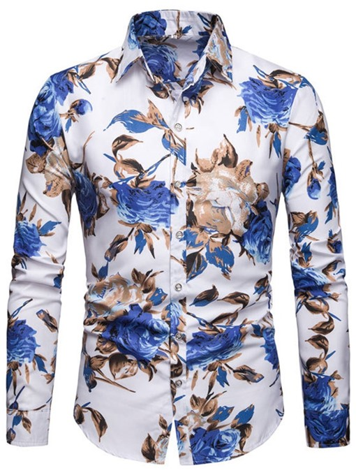 Ericdress Lapel European Floral Slim Single-Breasted Men's Shirt