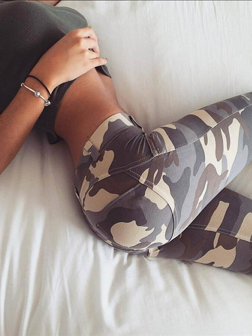 Ericdress Camouflage Print Pencil Pants Skinny Button Jeans