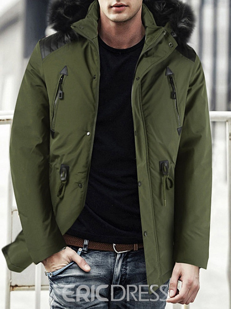 Ericdress Mid-Length Color Block Patchwork Men's Casual Down Jacket