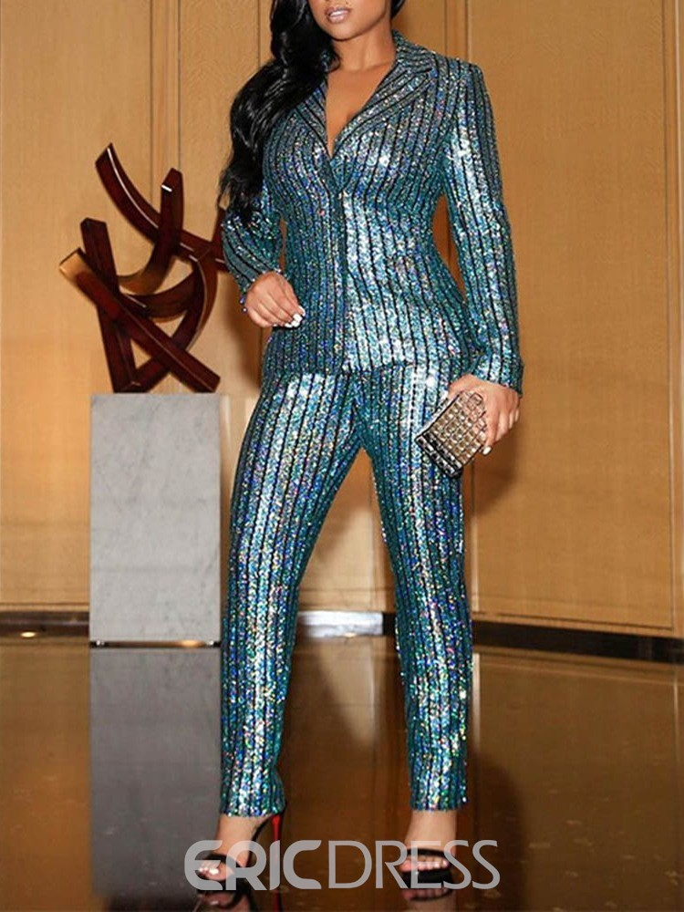 Ericdress Sequins Party/Cocktail Blazer Full Length Long Sleeve Women's Suit