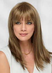 Ericdress Sexy Womens Long Length Straight Human Hair Capless Wigs With Bangs 22Inch
