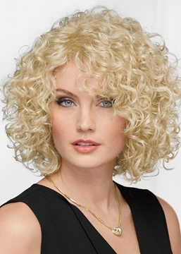 Ericdress Afro Curly Women's Blonde Color Bob Style Curl Human Hair Capless Wigs 14Inch