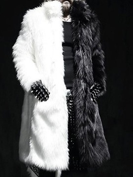 Ericdress Long Color Block Lapel Men's Winter European Coat