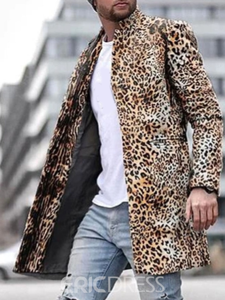 Ericdress Standard Leopard Stand Collar Slim European Coat