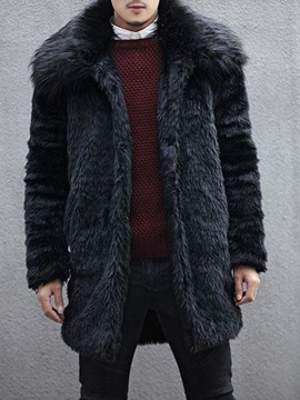 Ericdress Lapel Mid-Length Plain Winter Straight Men's Coat