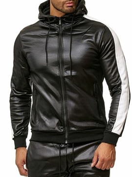 Ericdress Standard Hooded Color Block Patchwork Fall Leather Men's Jacket