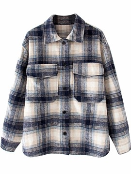 Ericdress Lapel Plaid Regular Long Sleeve Mid-Length Women's Blouse