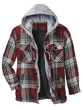 Ericdress Plaid Hooded Fleece Winter Men's Slim Jacket