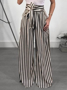 Ericdress Loose Stripe Print Straight High Waist Casual Women's Pants