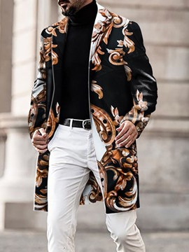 Ericdress Floral Mid-Length European Men's Slim Coat