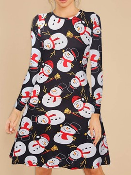 Ericdress Cartoon Print Long Sleeve Classic Women's Christmas Costumes