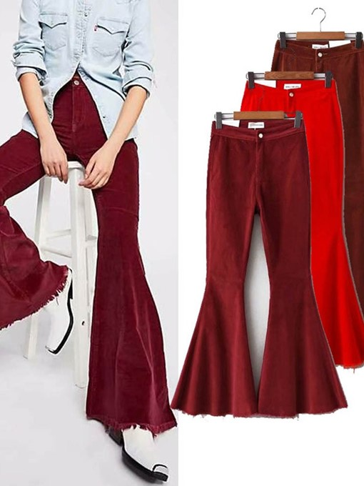 Ericdress Plain Slim Bellbottoms Mid Waist Casual Women's Pants
