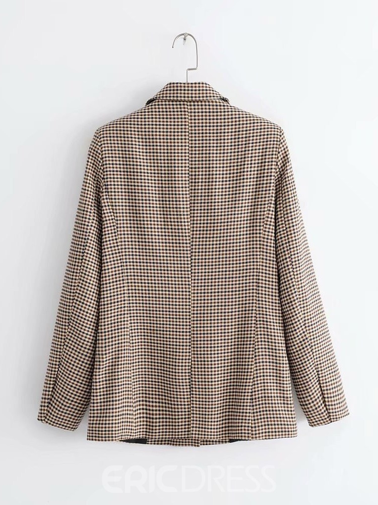 Ericdress Plaid Double-Breasted Long Sleeve Standard Regular Women's Casual Blazer