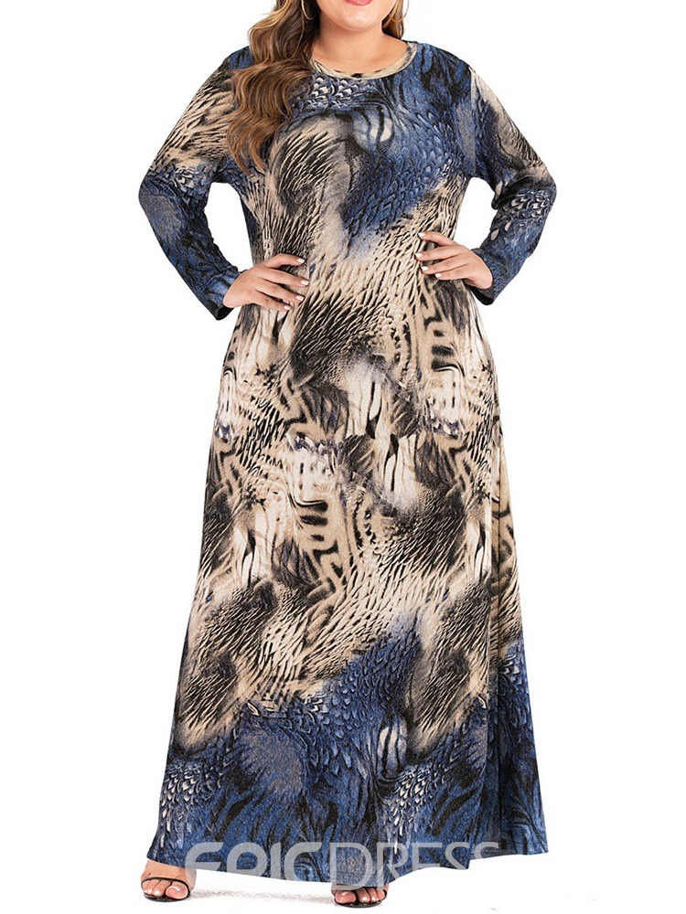 Ericdress Round Neck Long Sleeve Floor-Length Women's A-Line Dress