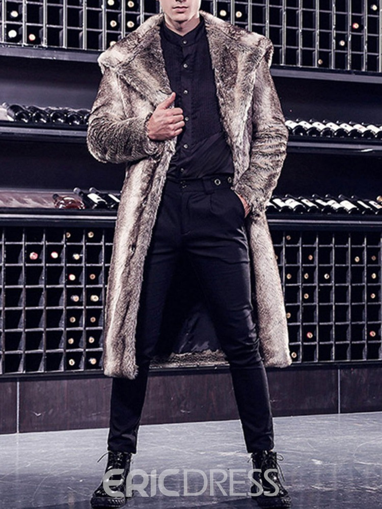 Ericdress Long Lapel Stripe Straight Winter Men's Coat
