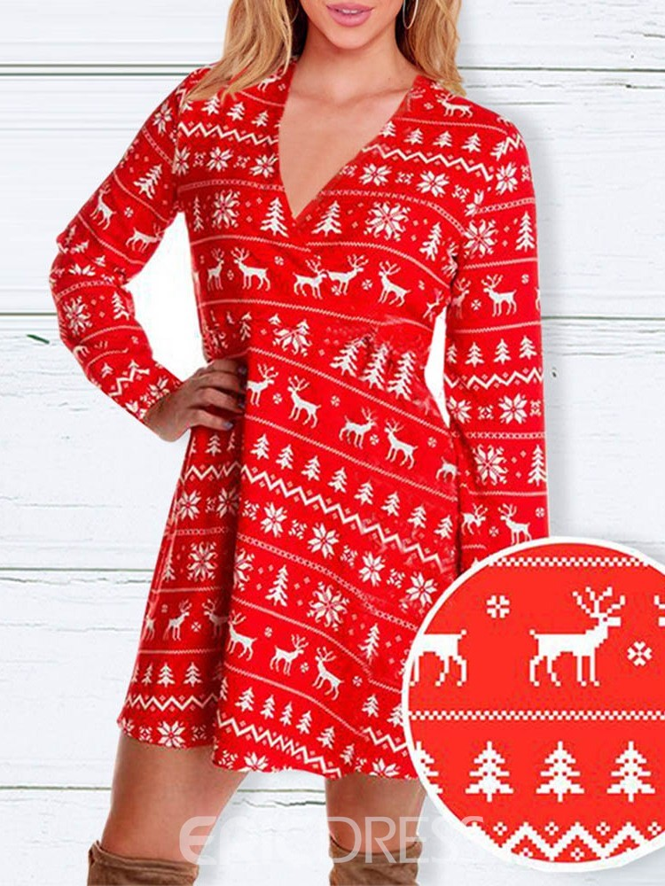 Ericdress Cartoon Print Sweet Classic Women's Christmas Winter Costumes