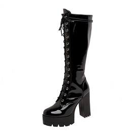 Ericdress Plain Lace-Up Front Chunky Heel Platform Boots