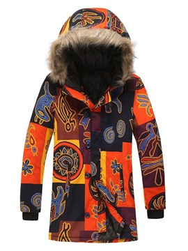 Ericdress Hooded Print Mid-Length Single-Breasted Casual Down Men's Jacket