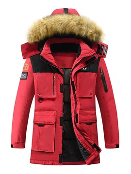 Ericdress Stand Collar Appliques Mid-Length Zipper Casual Men's Down Jacket