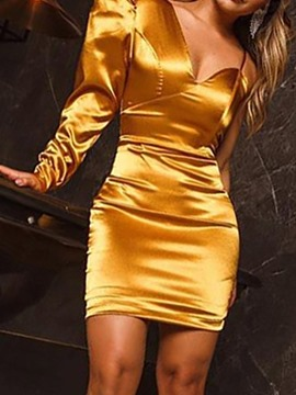 Ericdress Above Knee Asymmetric Long Sleeve Women's Bodycon Dress