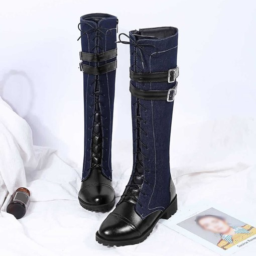Ericdress Round Toe Side Zipper Color Block Western Boots