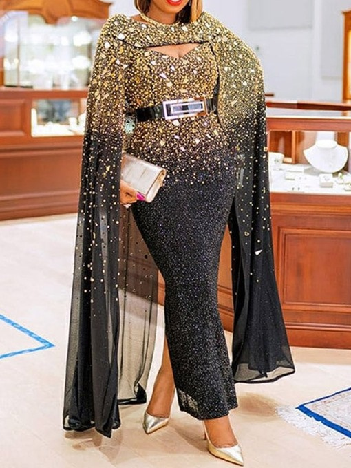 Ericdress Long Sleeve Floor-Length Sequins Color Block Fall Women's Dress