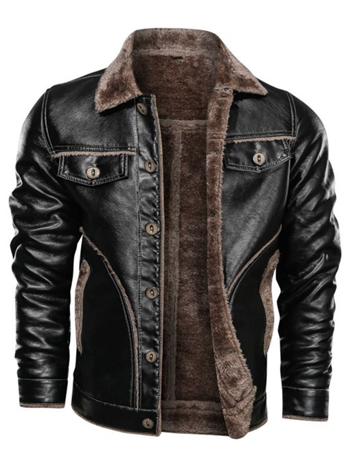 Ericdress Lapel Standard Patchwork Single-Breasted Leather Men's Jacket