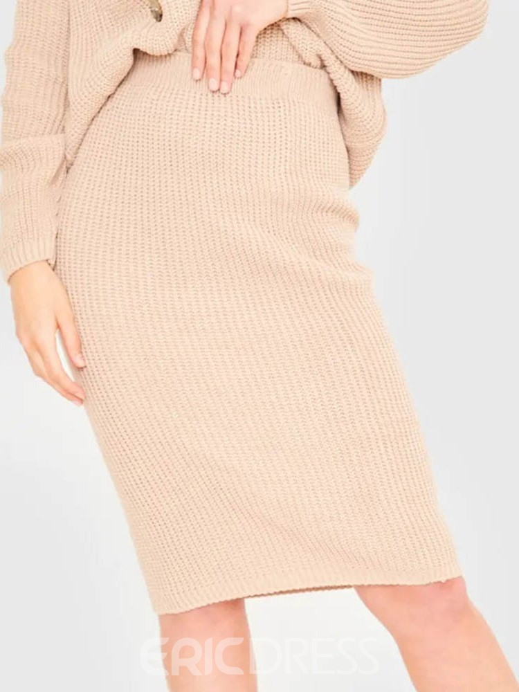 Ericdress Plain Sweater Sweet Bodycon V-Neck Women's Two Piece Sets