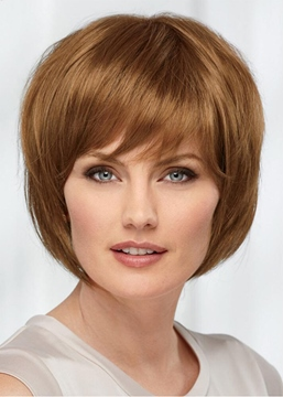 Ericdress Bob Style Women's Blonde Straight Human Hair Capless Wigs With Bangs 10Inch