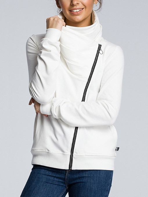 Ericdress Plain Zipper Patchwork Long Sleeve Fall Women's Hoodie