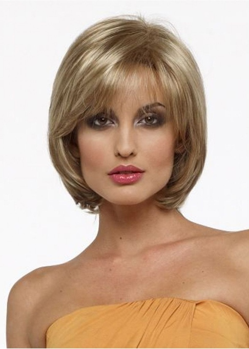 Ericdress Women's Blonde Straight Bob Style Human Hair Wigs Capless Wigs With Bangs 10Inch