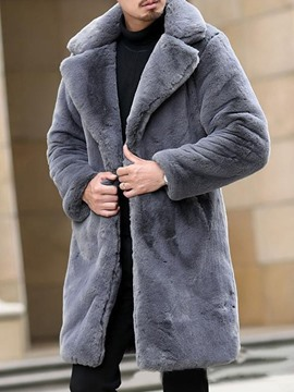 Ericdress Lapel Mid-Length Plain Winter Men's Slim Coat